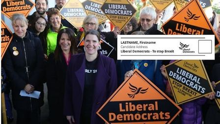 Jo Swinson with the Lib Dems and (right) an example of the ballot paper for the general election. Ph
