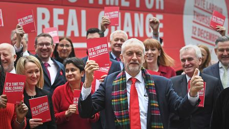 Labour Party leader Jeremy Corbyn arrives for the launch of his party's manifesto in Birmingham. PA