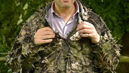 Even with a 'loud' striped shirt underneath, the Leafy suit still camouflaged Matt to teh relief of