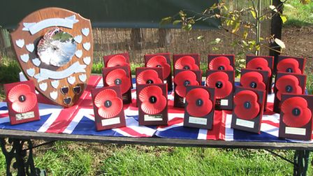 The perpetual Poppy Shield was made by Eddie Marrian and the Poppy plaques were well worth shooting