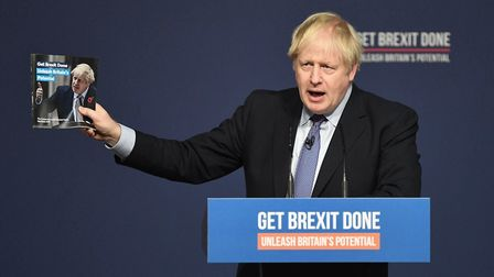 Boris Johnson at the launch of his party's general election manifesto in Telford, West Midlands. Pho