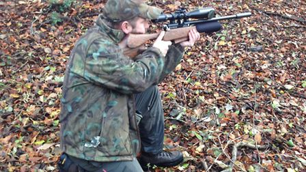 With nothing to support the rifle, Christian used his knee and takes a kneeling shot