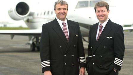 Naljets directors Craig McLeod (left) and Nick Waters with one of their aircraft at Durham Tees Val