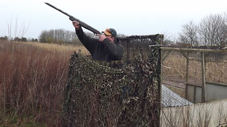 Practise at the clay ground from a seated position is a good warm-up for shooting from a hide