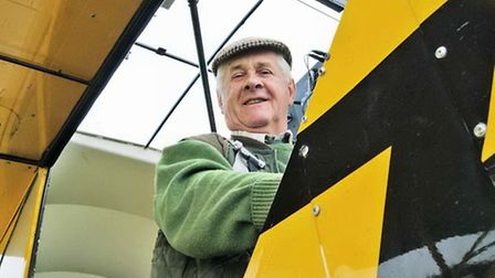 Tony Fisher in his daughter;s Super Cub, G-NESY visiting for his biennial check.