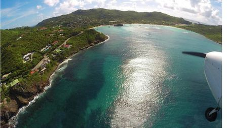 On base leg for St Barths R28, Lyndons GoPro image shows the infinity pool on the left, the Eden Roc