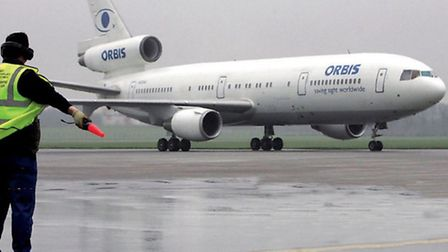 The ORBIS Flying Eye Hospital stops off at a wet and grey Dublin Airport