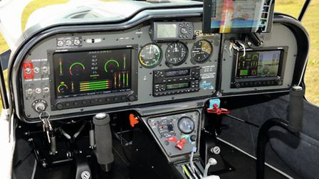 The panel fit includes Dynon SkyView displays, well-sited analogue stand-by instruments, Garmin radi