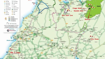 County Clare tourist map shows a selection of the locations used in the television series