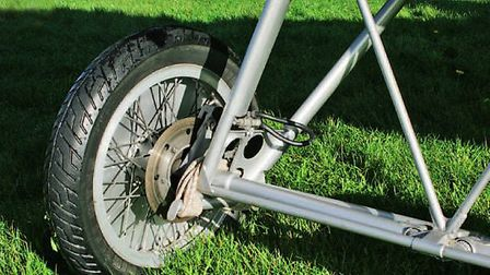 Hidden by the wheel covers, the disc brakes were sourced from a Honda motorcycle