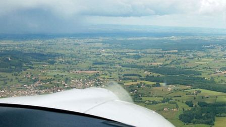Dodging showers as we cross France in an effort to keep Captain Orchards aeroplane dry