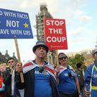 Anti-Brexit campaigner Steve Bray (L) during a cross-party rally organized by the People's Vote, cam