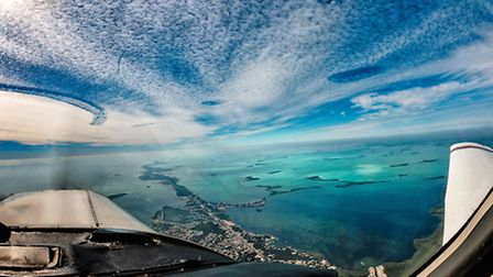 View from the cockpit whilst following the sliver of islands that make up the Florida Keys.