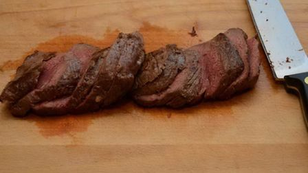 Slice the meat thinly and at an angle