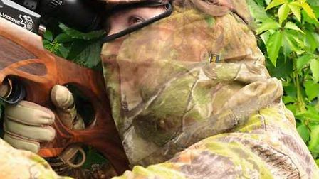 Completing the camouflage picture. A face veil and gloves will improve your bags