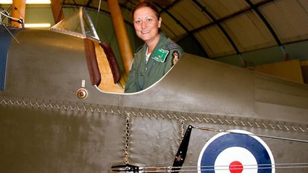 Nikki in the BE2e cockpit. Photograph by Russell Savory