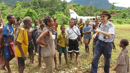 Mathias with villagers in Kaiam