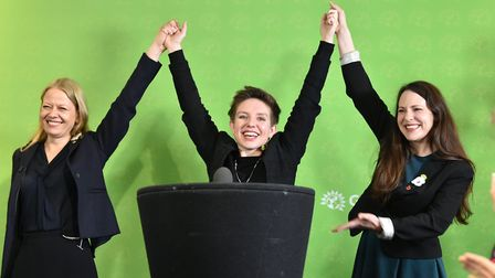 Green Party Co-Leader Sian Berry (left), Deputy Leader and Parliamentary Candidate for Newport West