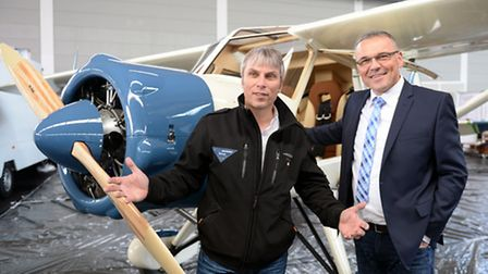 Bcker & Funk MD Peter Funk and AERO Project Manager Roland Bosch pose with the BF139 Clubman