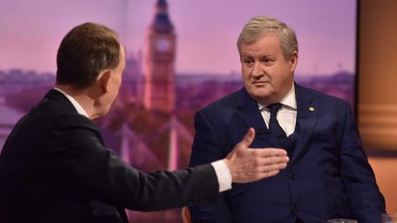 SNP Westminster Leader Ian Blackford (right) being interviewed by host Andrew Marr on the BBC1 curre