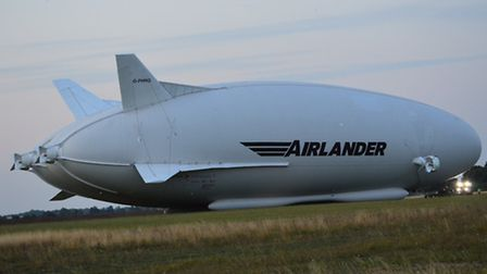 Airlander 10 at the conclusion of its first flight PHOTO: Michael Miklos