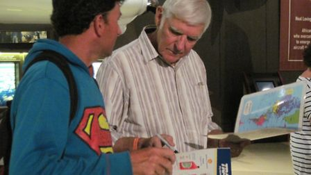 Discussing the route with Dick Rutan