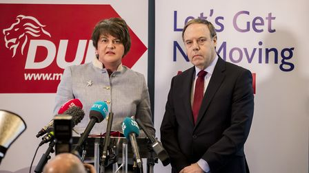 DUP's leader Arlene Foster with Nigel Dodds. Photograph: Liam McBurney/PA Wire.