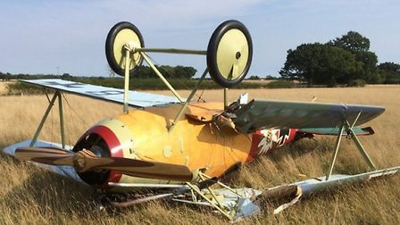 The World War I Albatros DVa ended upside down in a field | @Kent_999s