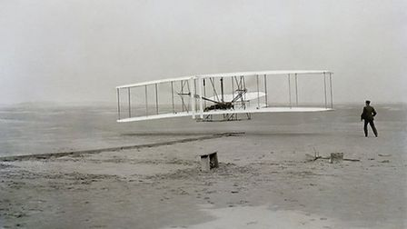 Orville Wright pilots the Wright Flyer for its first flight | Library of Congress, NASA on The Commo