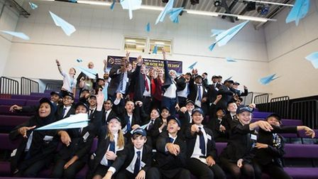 Students, employees and special guests celebrate the launch of the Airbus Foundation Challenge in th