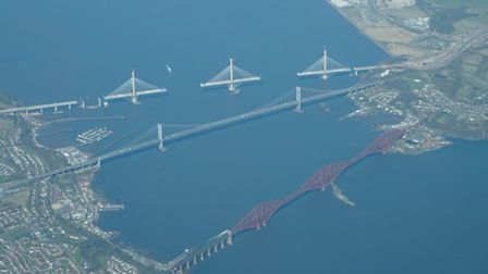 Over the Firth of Forth, with the unfinished Queensferry Crossing at the top and the Forth Bridge, w