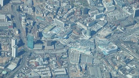 Birmingham city centre, photographed in April, with the Bullring and the rather distinctive Selfridg