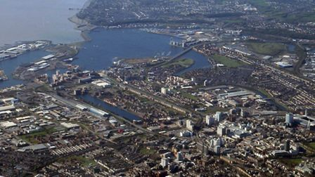 Cardiff Bay was flown over by the Flying Unit in summer