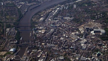 The Flying over Newcastle, with the Tilt Bridge on the left