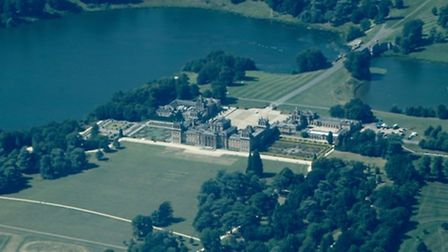 The spectacular architecture of Blenheim Palace, in Oxfordshire, is captured from the air. The palac