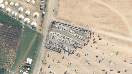 The Flying Unit flew over BoomTown Fair shortly after a serious fire in the car park, which left bur