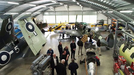 Competition winners enjoying their private viewing of Air Leasing's hangar at Sywell