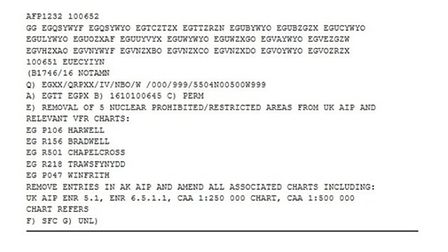 The NOTAM issued by the CAA
