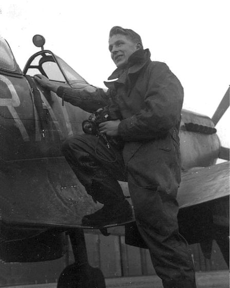 A very young James, who has just taxied (though sadly not flown) a Spitfire