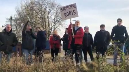 Boris Johnson was greeted by protesters outside a factory in Teesside. Picture: BBC
