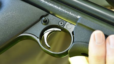 The small cross bolt safety sits just behind the trigger