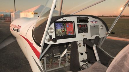 The pilot's field of view is excellent and the all-glass multi-function display works nicely. Test a