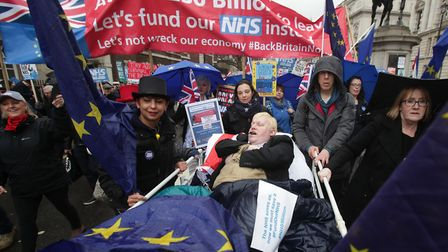 Pro-EU protesters taking part in a 2018 march to protect the NHS. Picture: Yui Mok/PA Archive/PA Ima