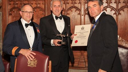 Jim Watt (centre) receiving The Royal Air Force Central Flying School Trophy