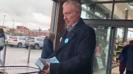A man has been ejected from a branch of Morrisons, who said he had been 'forcing' Brexit Party leafl