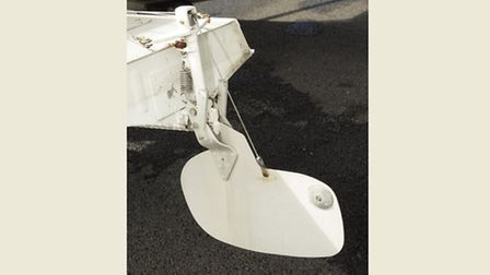The rudder in the down position
