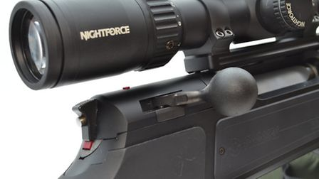 Bolt handle and safety catch detail. It is super-fast and slick and remains very quiet