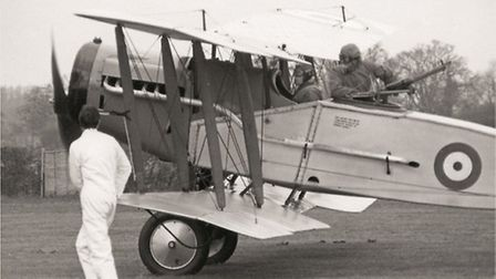 The F2b in its previous inter-war colour scheme (grey and silver), carrying a 'gunner' as was then a