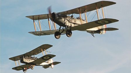 Two of the supreme British warplanes of WWI, the multi-role F2b and the SE5a scout (fighter, in mode