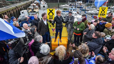 Nicola Sturgeon and Dave Doogan, SNP candidate for Angus, meets with activists and supporters on the
